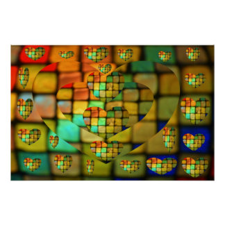Colored Glass Heart Mosaic Poster