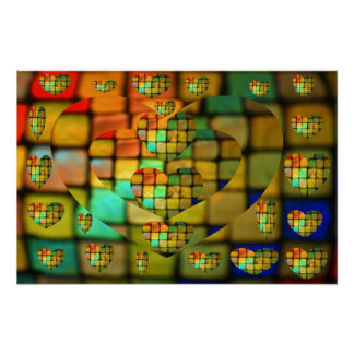 Colored Glass Tile Heart Mosaic Poster
