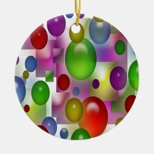 Colored Globes Ceramic Ornament
