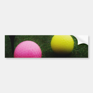 colored golf balls and cart bumper stickers