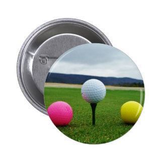 Colored Golf Balls, mountain tee Pinback Buttons