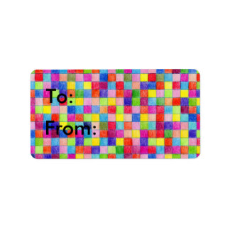 Colored Graph Paper Squares To and From Gift Tags