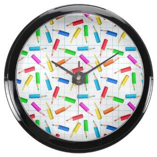 Colored Graphing Pencils Aquarium Clocks
