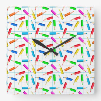 Colored Graphing Pencils Square Wall Clock