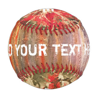 Colored grunge ink painting red + your ideas baseball