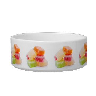 Colored gummy square sweets bowl