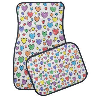 Colored Hearts Car Mats