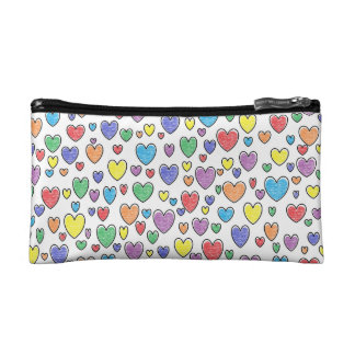 Colored Hearts Cosmetic Bag