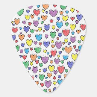 Colored Hearts Guitar Pick