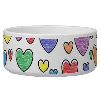 Colored Hearts Pet Bowl