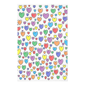 Colored Hearts Stationery