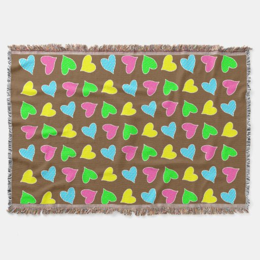 Colored Hearts Throw