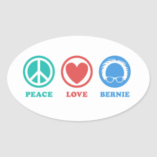 Colored Icons Peace Love Bernie Oval Sticker