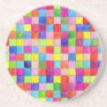 Colored In Graph Paper Squares Coaster
