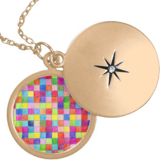 Colored In Graph Paper Squares Gold Plated Necklace