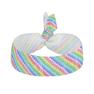 Colored In Graph Paper Squares Ribbon Hair Tie