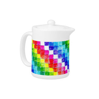 Colored In Graph Paper Squares Teapot