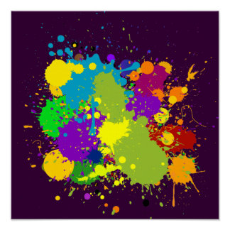 Colored Inky Splats Poster