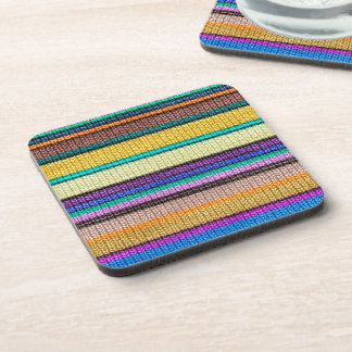 Colored knitting Stripes seamless pattern 1 Beverage Coaster
