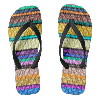 Colored knitting Stripes seamless pattern 1 Flip Flops