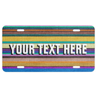 Colored knitting Stripes seamless pattern 1 License Plate