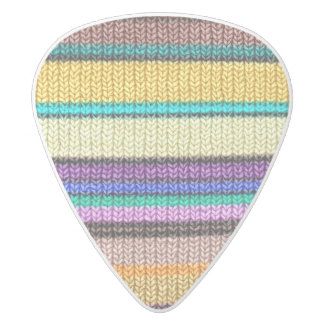 Colored knitting Stripes seamless pattern 1 White Delrin Guitar Pick
