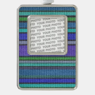 Colored knitting Stripes seamless pattern 2 Christmas Ornament