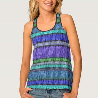 Colored knitting Stripes seamless pattern 2 Tank Top