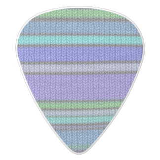 Colored knitting Stripes seamless pattern 2 White Delrin Guitar Pick