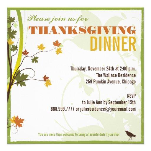 Colored Leaves Thanksgiving Dinner Invitation