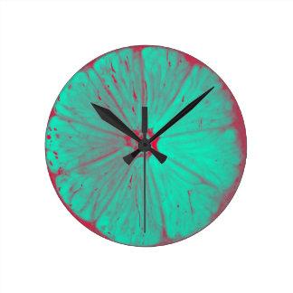 Colored Lemons Round Clock