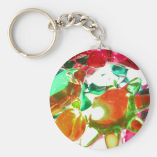 Colored Lights Basic Round Button Keychain
