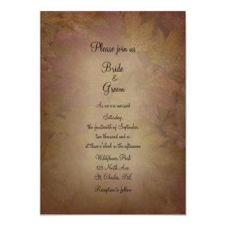 "Colored Maple Leaves Wedding Invitation 5"" X 7"" Invitation Card"