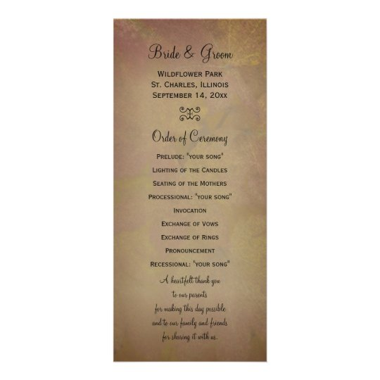 Colored Maple Leaves Wedding Program