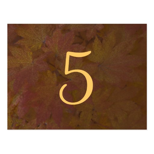 Colored Maple Leaves Wedding Table Number Postcard