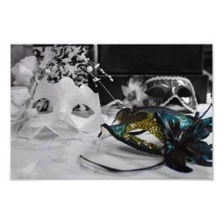 Colored Mask & Black + White Photo Print