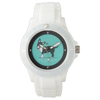 Colored Miniature Bull Terrier Middle Name Wrist Watch
