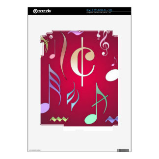 Colored Musical Notes Skin For iPad 2