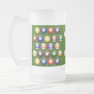 Colored Numbered Pool Balls on a Beer Glass Frosted Glass Beer Mug