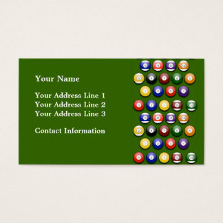 Colored Numbered Pool Balls on Business Card