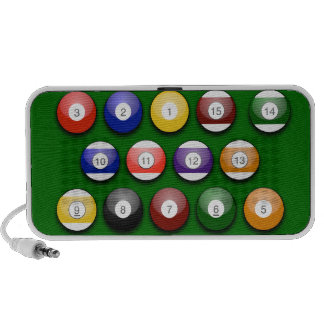 Colored Numbered Pool Balls On Portable Speaker