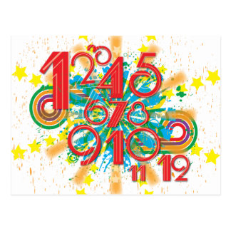 colored numbers 1 12 postcard