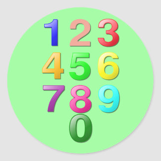 Colored Numbers Classic Round Sticker