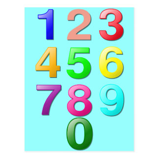 Colored Numbers Postcard