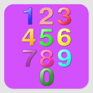 Colored Numbers Square Sticker