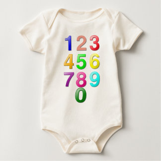 Colored Numbers Baby Bodysuits