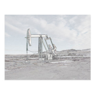 Colored Outlined Oil Well Pump Postcard