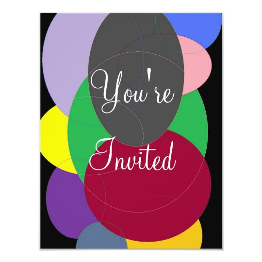 colored ovals, You're, Invited Card