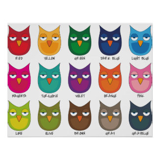 Colored Owls / Coloured Owls Poster