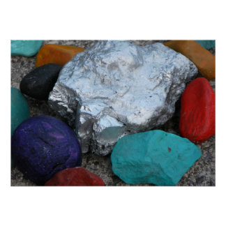 Colored Painted Rocks Poster Canvas Print